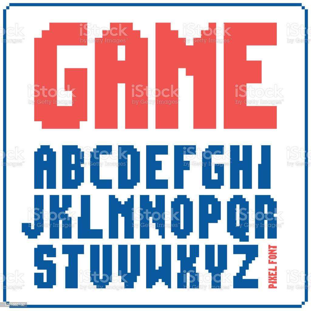 ゲーム フォント 8 ビットのレトロな書体 2。ベクトル図を分離しました。 ベクターアートイラスト