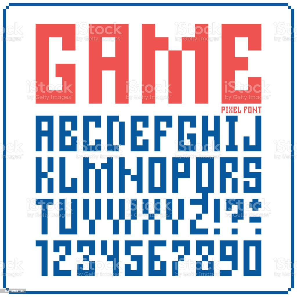 Game Font 8bit Retro Typeface 3 Isolated Vector Illustration