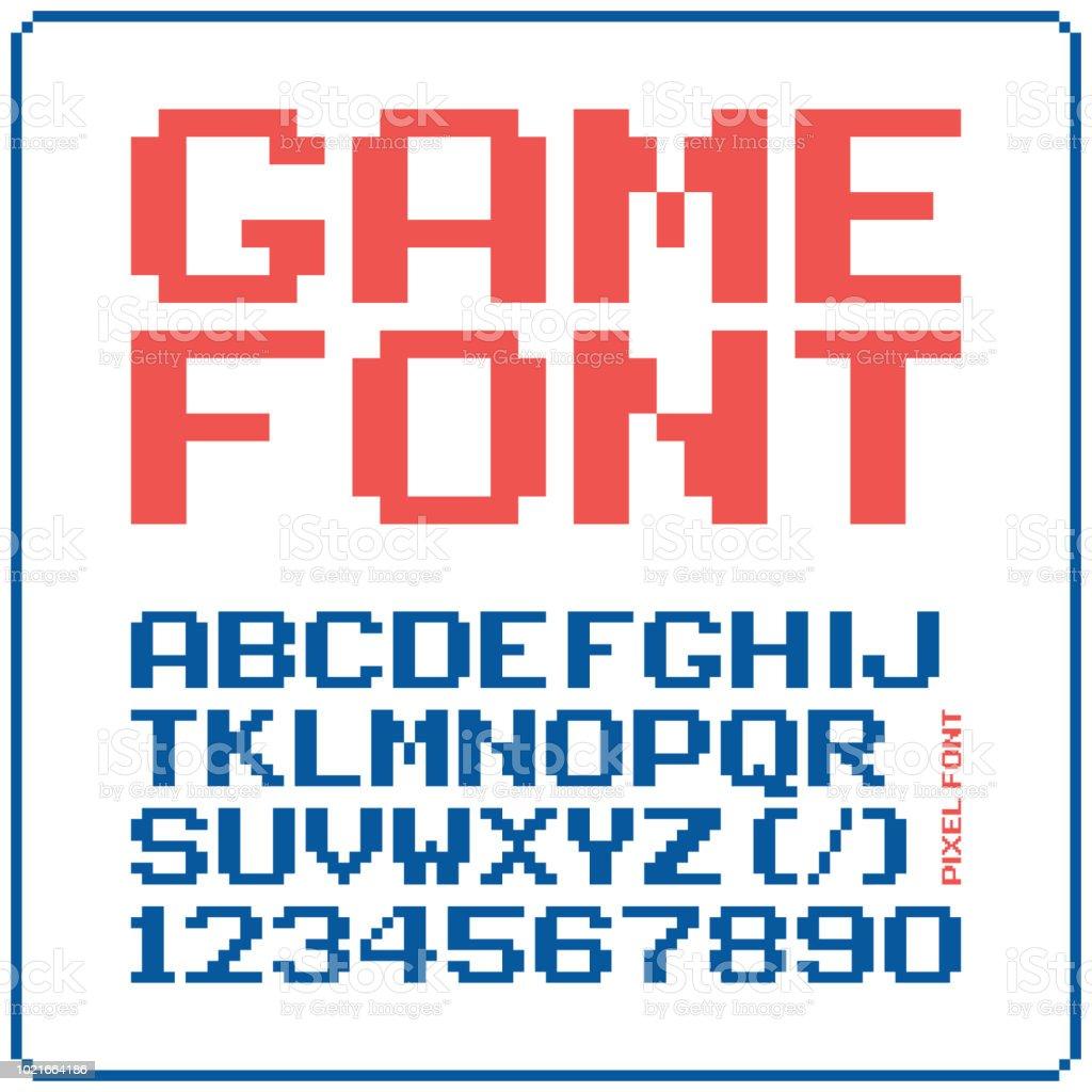 ゲーム フォント 8 ビットのレトロな書体 4。ベクトル図を分離しました。 ベクターアートイラスト