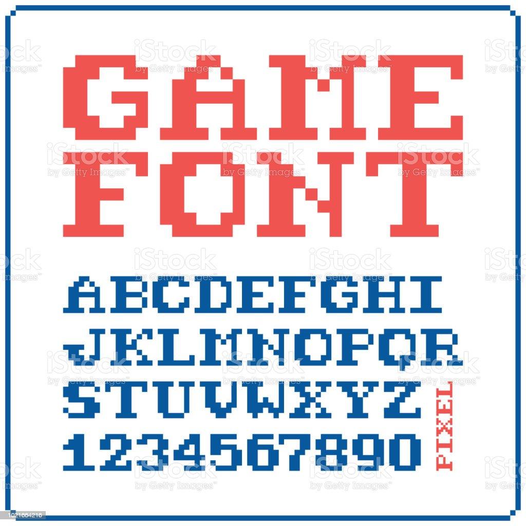 ゲーム フォント 8 ビットのレトロな書体 5。ベクトル図を分離しました。 ベクターアートイラスト