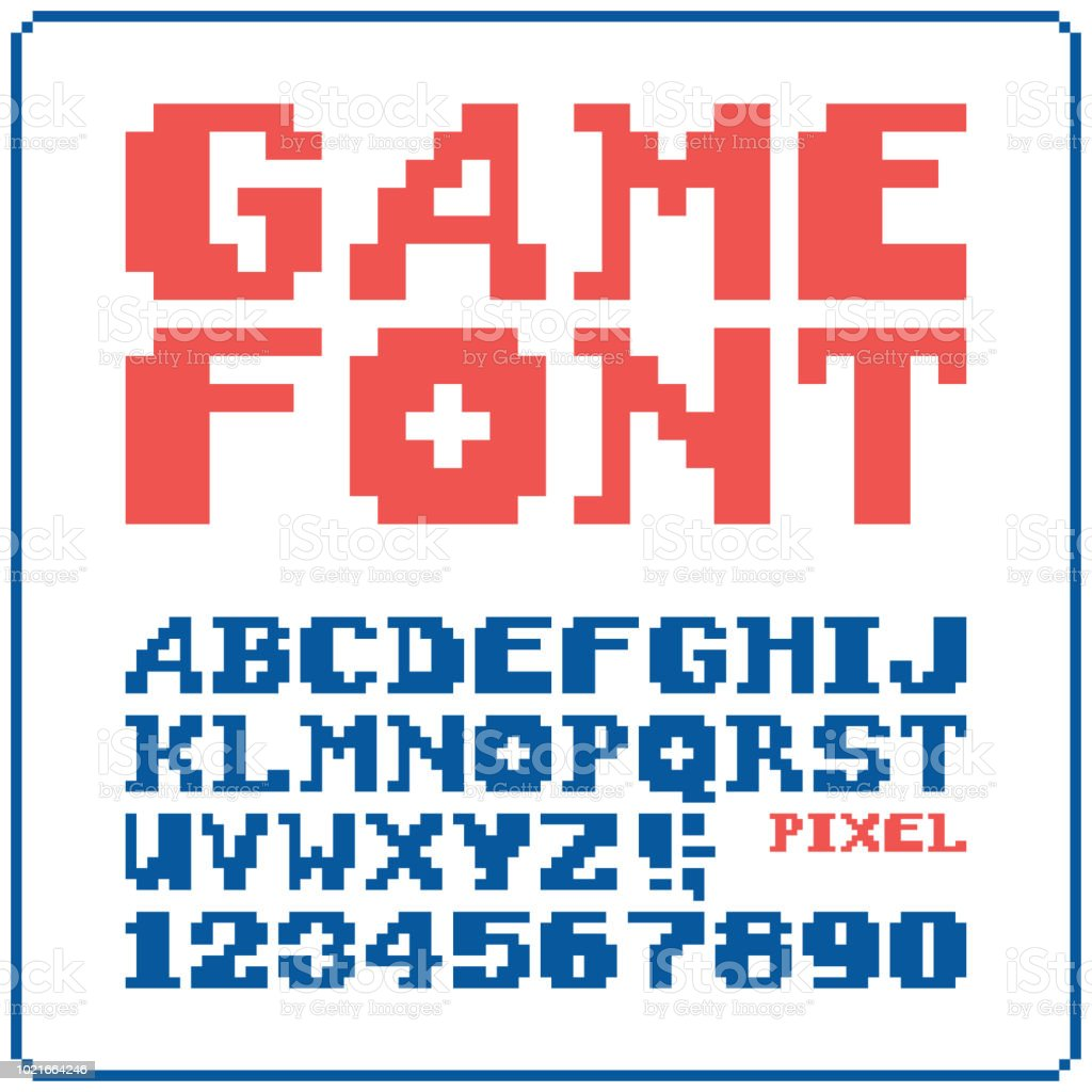 ゲーム フォント 8 ビットのレトロな書体 6。ベクトル図を分離しました。 ベクターアートイラスト