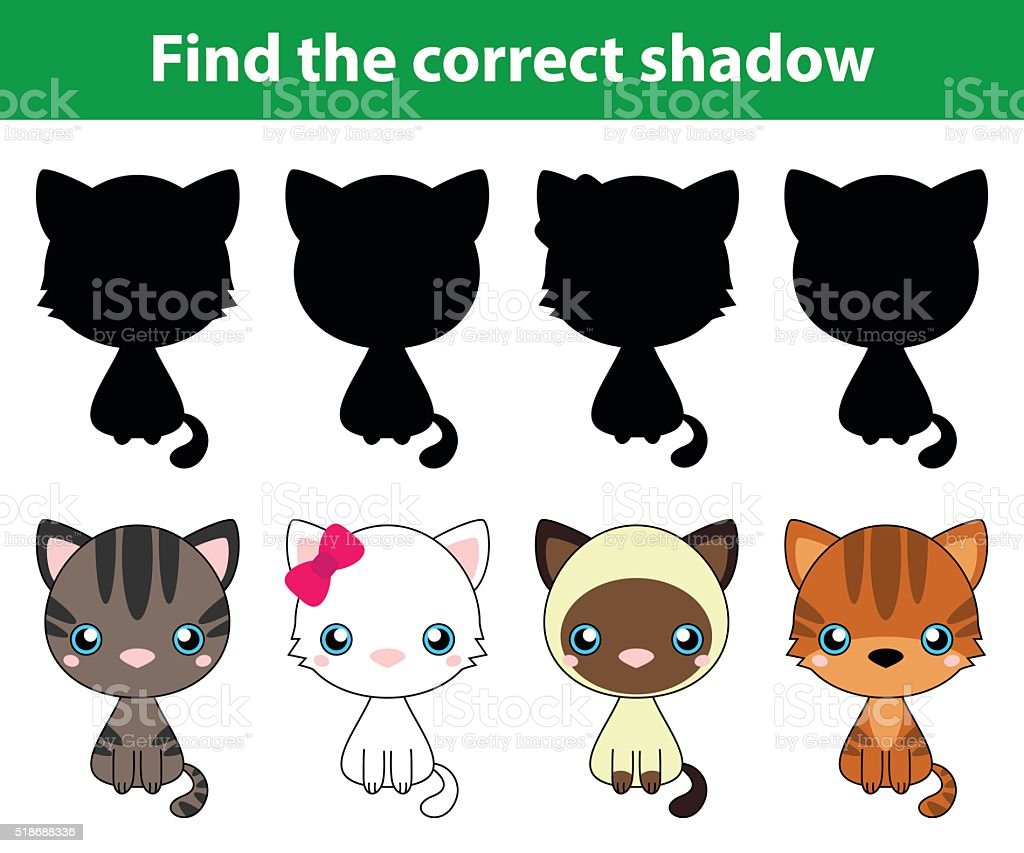 bb662aa0d5cad Juego para niños   Encuentre la correcta sombra gatos ilustración de juego  para niños encuentre la