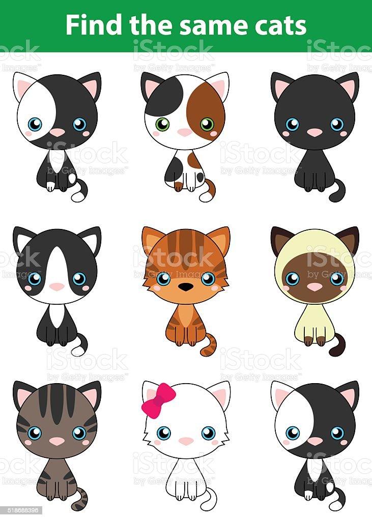 Game for children: find the same cats vector art illustration