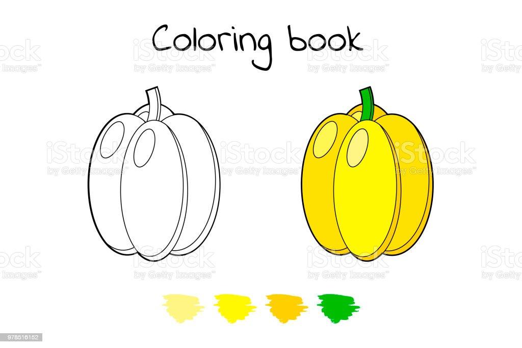 Coloriage Paprika Dessin Anime.Jeu Pour Les Enfants Legume Paprika De Page De Coloriage Vecteurs
