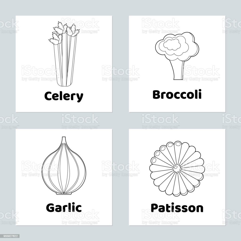 Game For Children Vegetable Set Coloring Page Celery Patisson Garlic ...