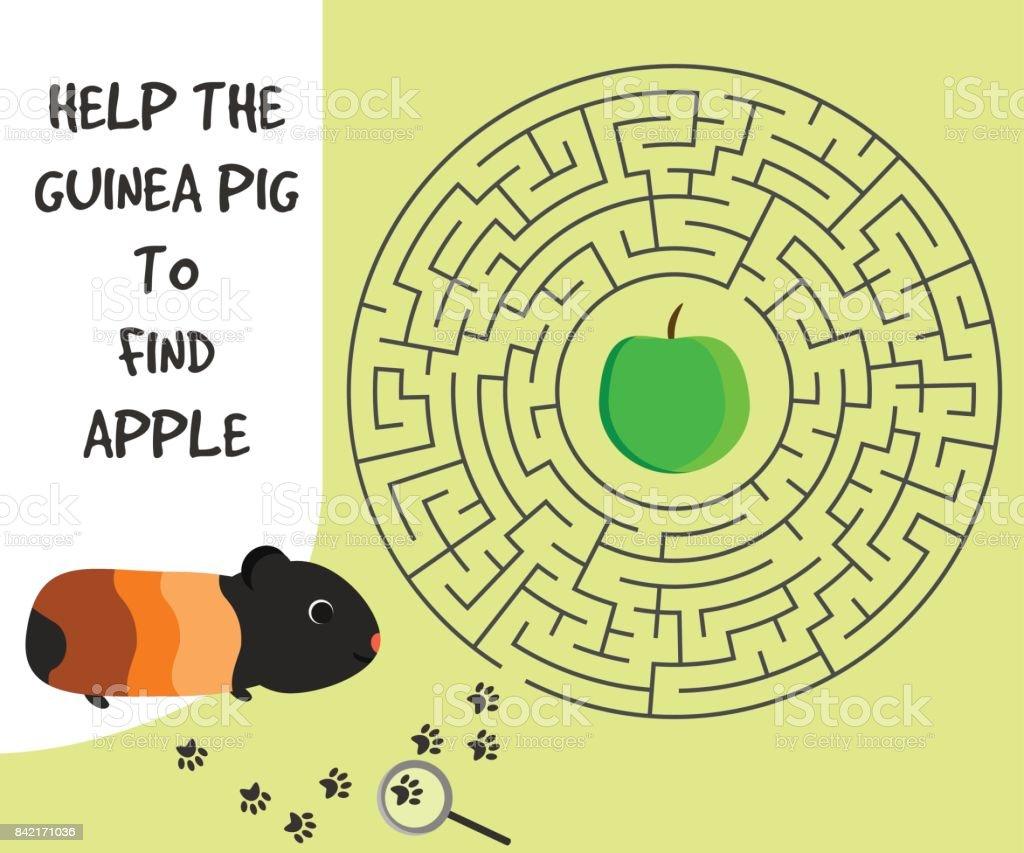 Ilustración de Juego Para Niños Con Conejillo De Indias Y Manzana y ...