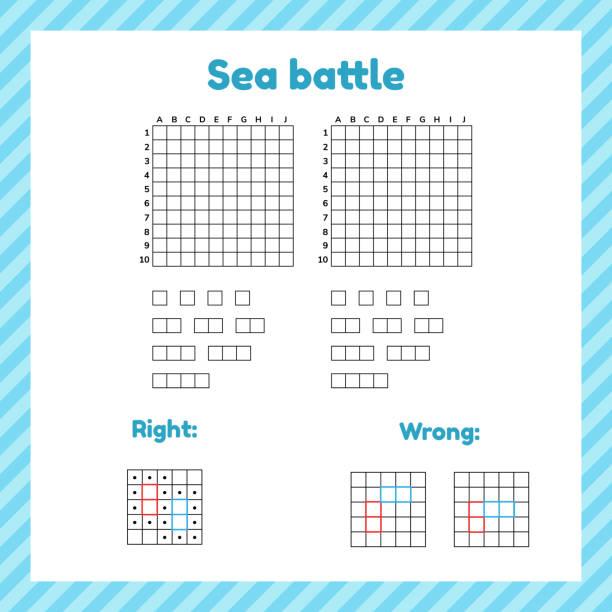 Spiel für Kinder. seeschlacht. Template-Seite mit Form und Elementen für Schlachtschiff. – Vektorgrafik