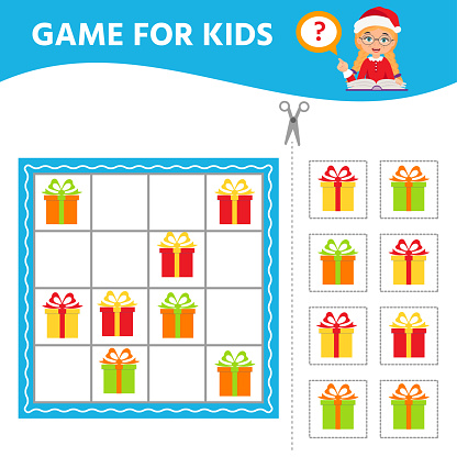Game for the development of logical thinking of children. Christmas gift. Sudoku.