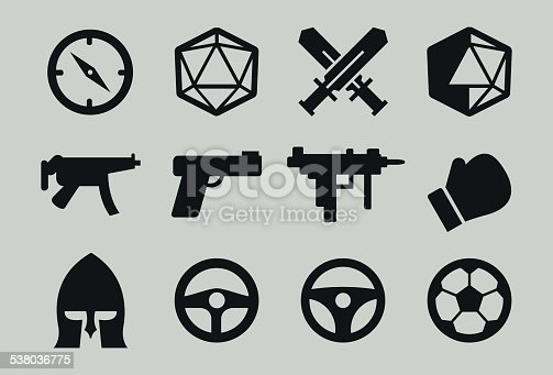 Game genre icons: adventure, rpg, shooter, sport, beat 'em up, driving, soccer. Include various guns, smgs, boxing glove, helmet, sword, compass, steering wheel. All vector and isolated.