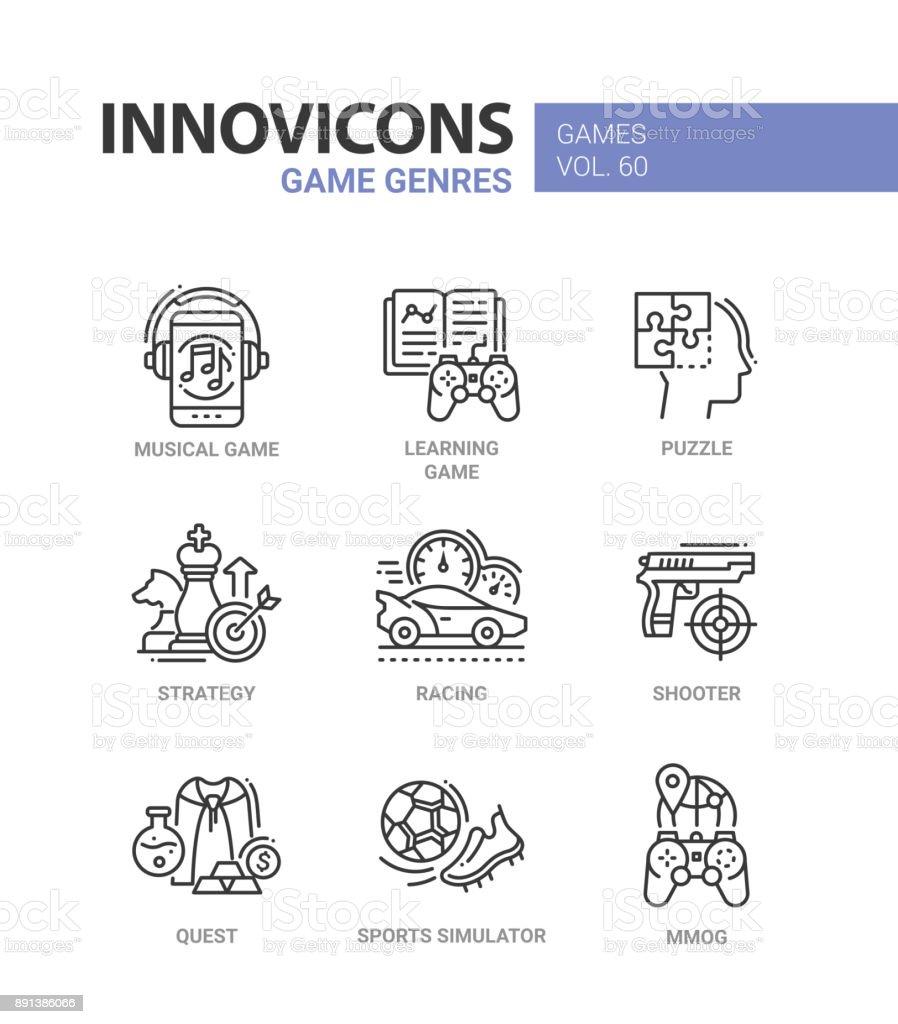 Game genres - line design icons set vector art illustration