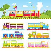 Game gift kids train vector travel railroad transportation toy locomotive illustration. Graphic fun locomotive transport railway vehicle colorful carriage ride.