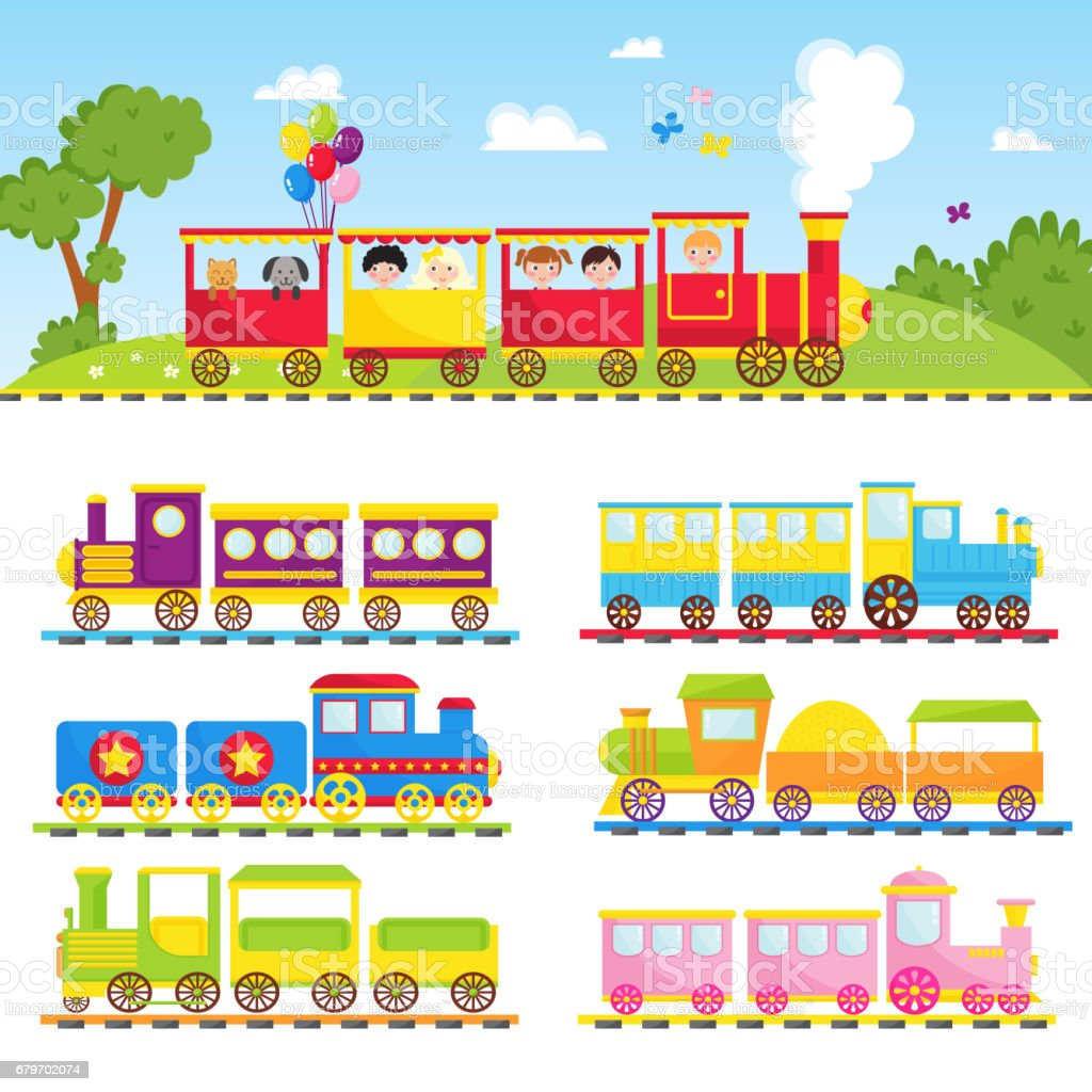Game gift kids train vector travel railroad transportation toy locomotive illustration vector art illustration