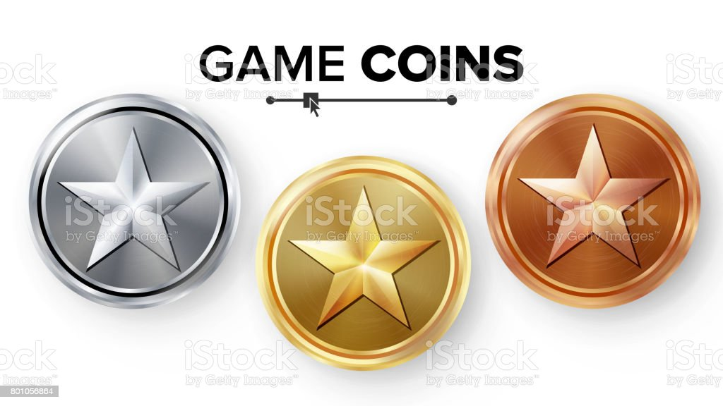 Game Gold, Silver, Bronze Coins Set Vector With Star. Realistic Achievement Icon Illustration. Rank Medals For Game User Interface, Web, Video Game Or App Interface vector art illustration