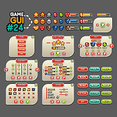 Big GUI with a lot of panels (paused, level complete, shop, upgrades, level select, achievement, options),  buttons and objects for creating a video game.
