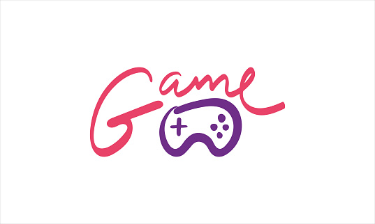 Game handwritten lettering and hand drawn gamepad isolated. Gaming concept. Beautiful inscription for postcard, print, t-shirt, inspirational poster, product package design. Vector illustration
