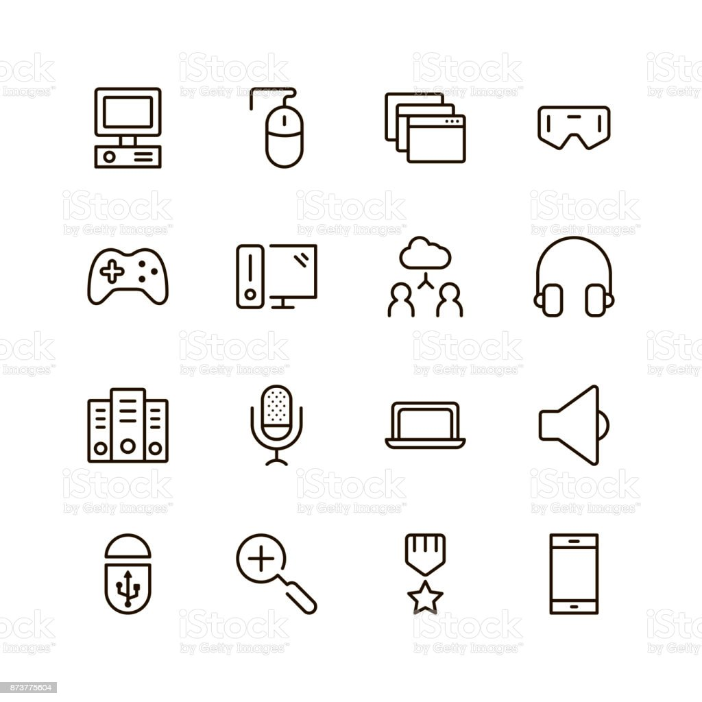 Game icon set vector art illustration