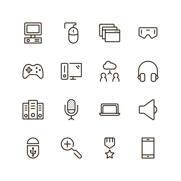 Game icon set Game icon set. Collection of high quality black outline logo for web site design and mobile apps. Vector illustration on a white background. joystick stock illustrations