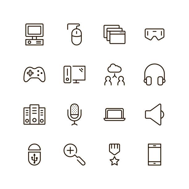ilustrações, clipart, desenhos animados e ícones de jogo conjunto de ícones - game