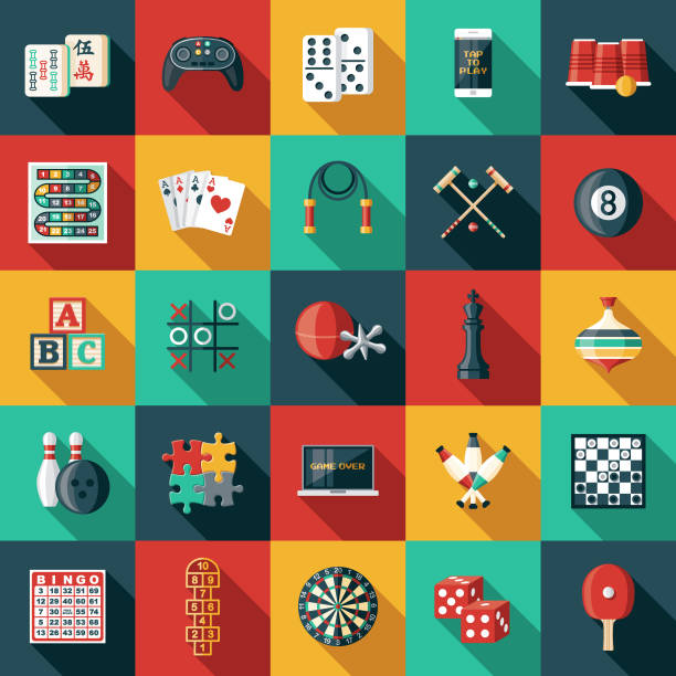 Game Icon Sets A set of icons. File is built in the CMYK color space for optimal printing. Color swatches are global so it's easy to edit and change the colors. leisure games stock illustrations
