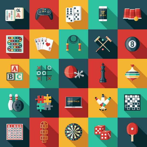 stockillustraties, clipart, cartoons en iconen met spel icon sets - vrijetijdsspel