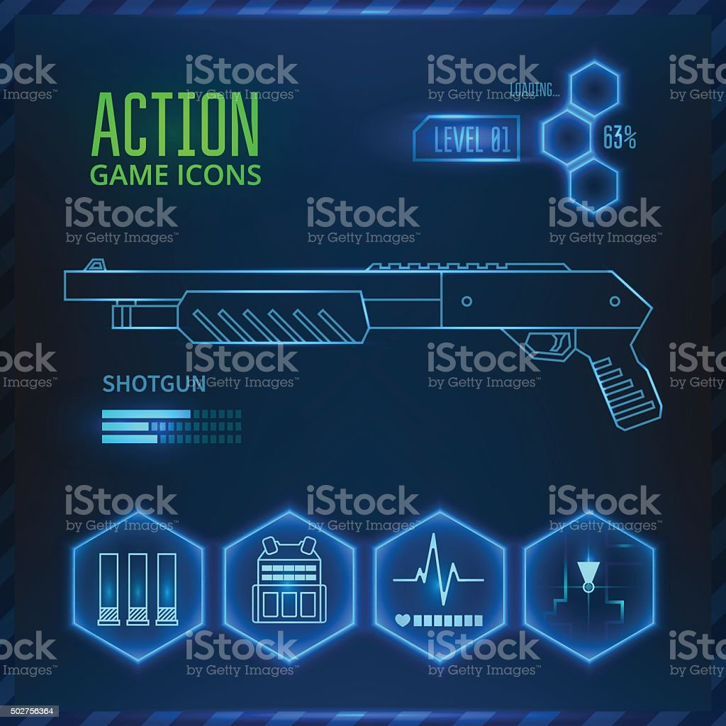 Game icon weapon vector art illustration