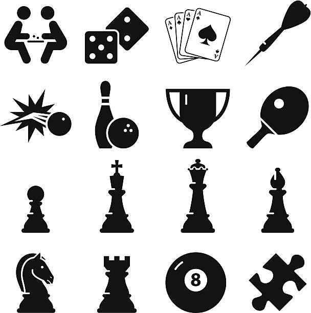 Game Icons - Black Series Game icon set. Professional icons for your print project or Web site. See more in this series. chess knight silhouette stock illustrations
