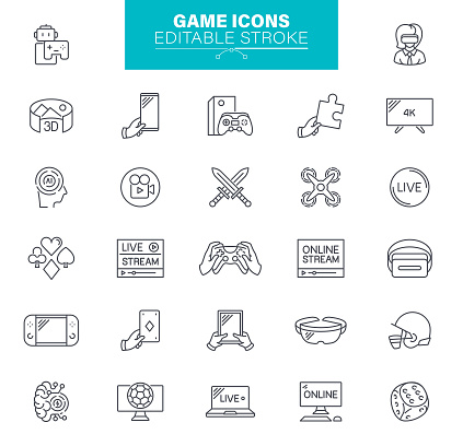 Game Icons Editable Stroke. The set contains icons as Video Game, Gamepad, Computer