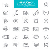 Video Game, Leisure Games, Sport, Devices, Virtual reality, Outline Icon Set