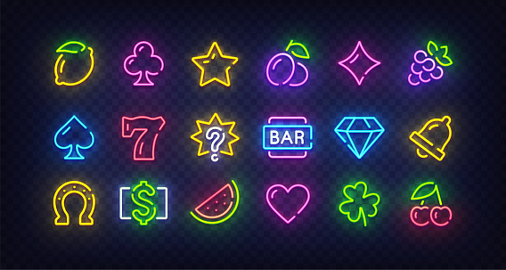 Game icons for casino isolated. Icon from slot machine. Slot neon sign. Casino, Slot machine, Gambling. Bright signboard, light banner. Neon isolated icon, emblem. Vector illustration