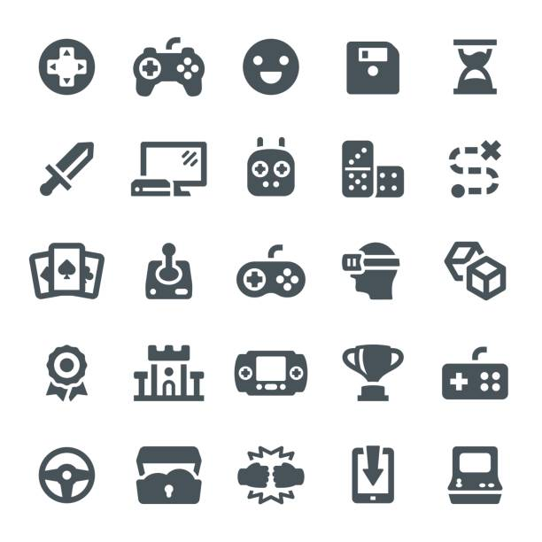 Game Icons Video game, leisure games, icons, joystick, gamepad, icon, game machine game controller stock illustrations