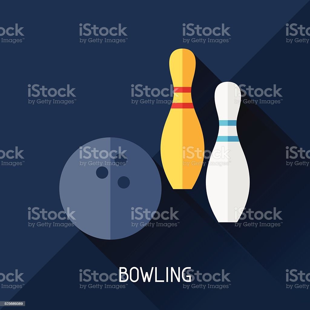 Game illustration with bowling in flat design style. vector art illustration