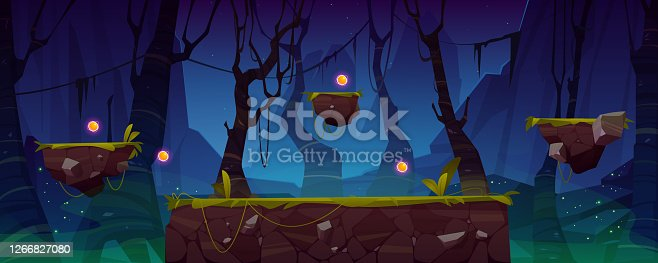 Game level background with platforms and items. Vector cartoon landscape of night jungle with green grass and trees for gui interface of arcade, computer animation, mobile or console game