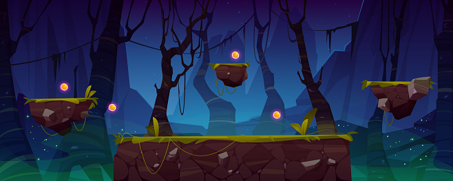 Game level background with platforms and items