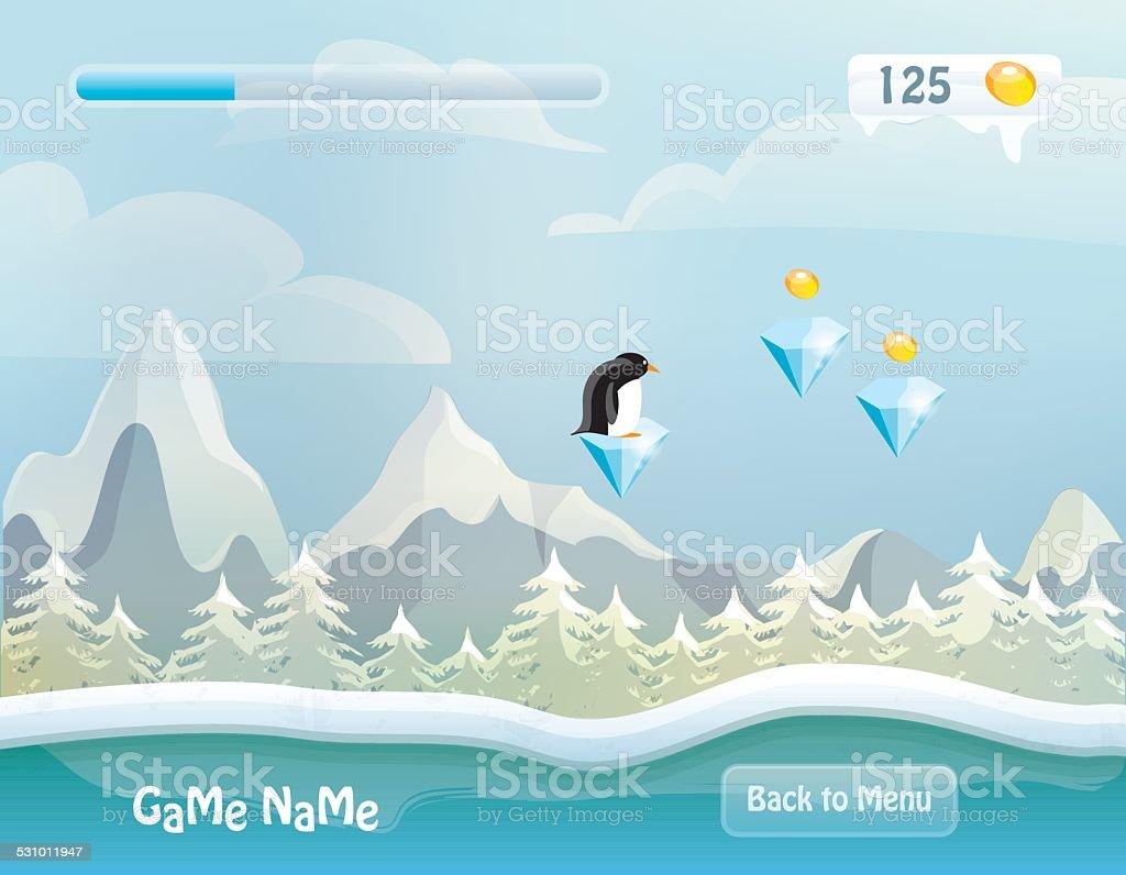 game level vector illustration- snowy background landscape vector art illustration