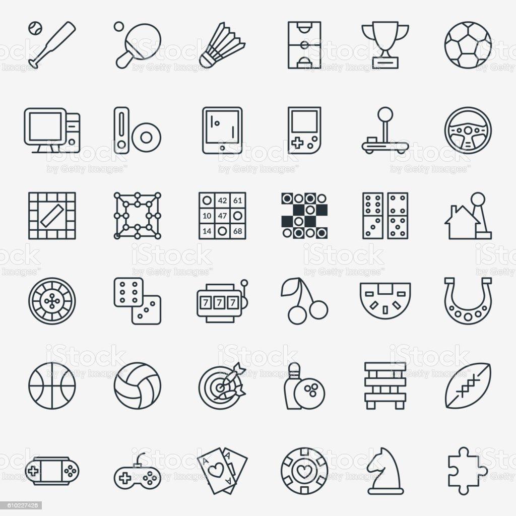 Game line icons vector set - Illustration vectorielle