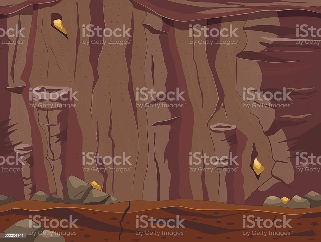 Game locations cave. seamless background. vector art illustration