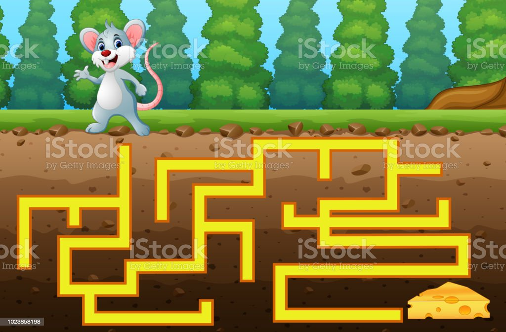 game mouse maze find way to the cheese stock vector art more