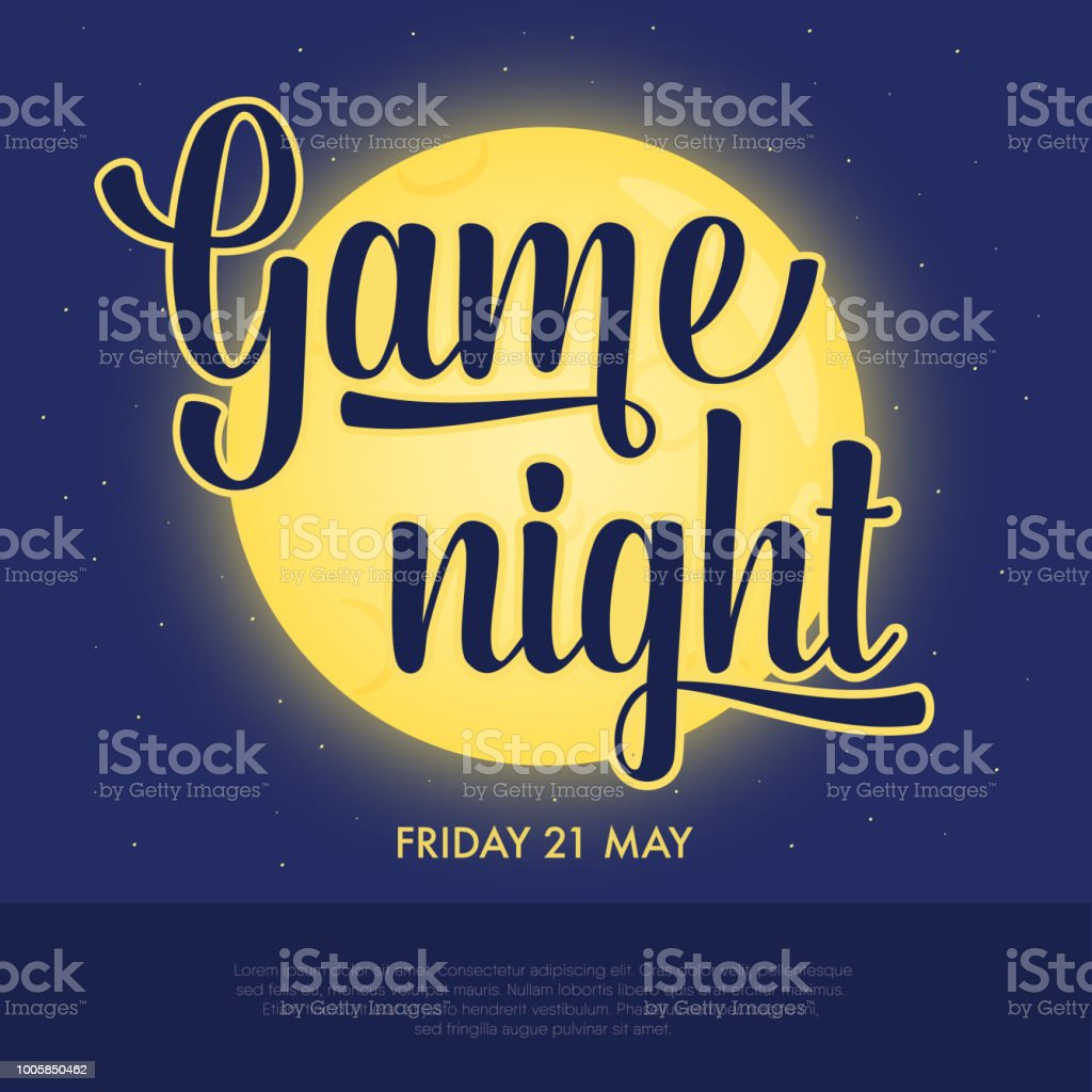 Game Night Announcement Poster Concept Of Night Activity Pub