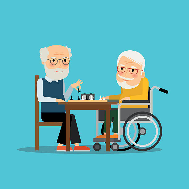 game of chess. two old men playing chess - old man playing chess silhouettes stock illustrations, clip art, cartoons, & icons