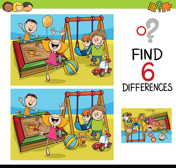 game of differences with kids vector art illustration