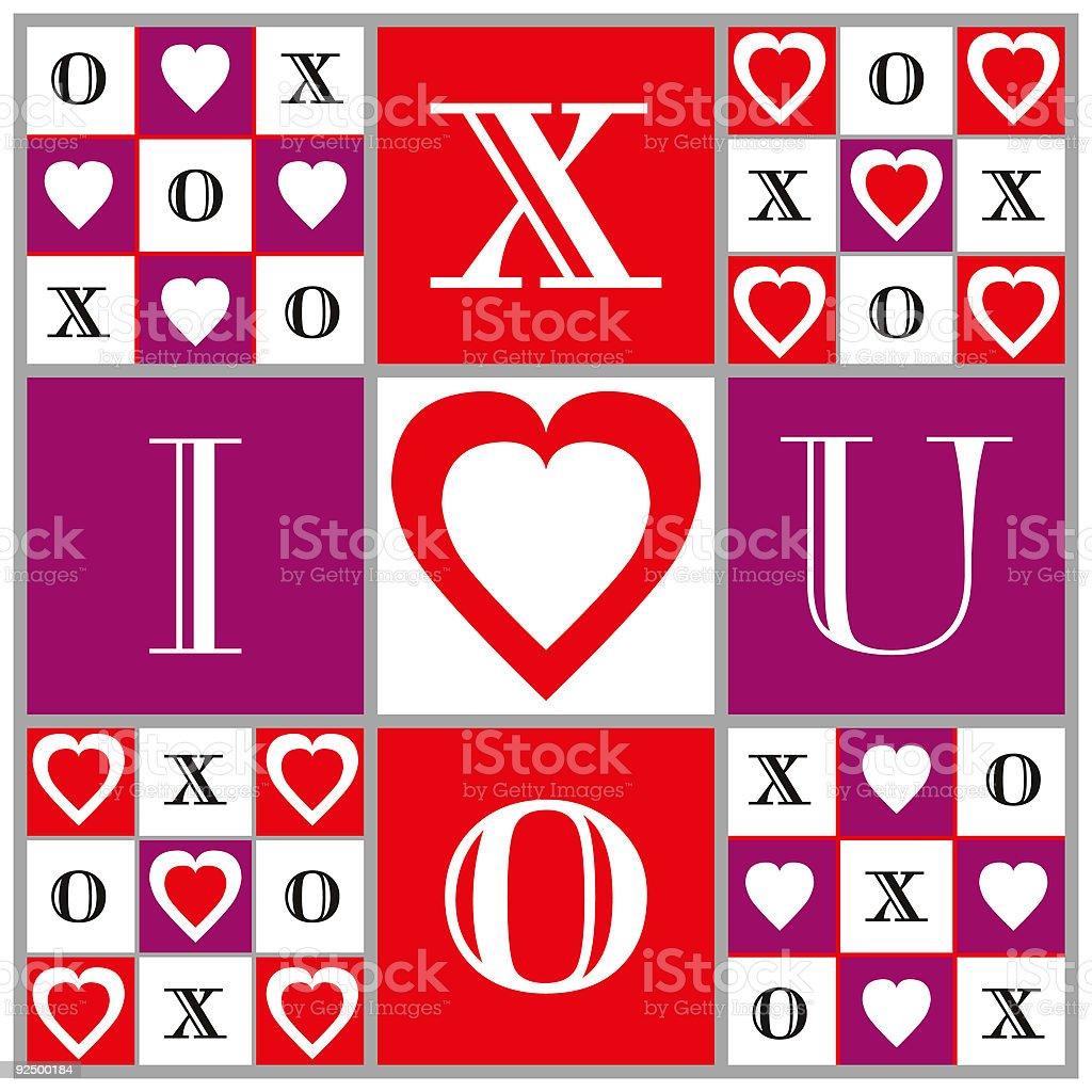 Game of Love: Hearts, XOXO, Tic Tac Toe Illustration royalty-free stock vector art