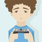 Game over boy flat illustration