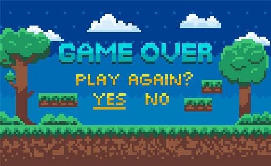 Game Over End of Playing, Play Again Question