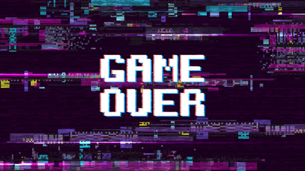 Game over fantastic computer background with glitch noise retro effect vector screen Game over fantastic computer background with glitch noise retro effect vector screen. Game over pixel display, video computer text illustration gambling stock illustrations