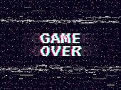 Game over glitch background. Retro game backdrop. Glitched lines noise. VHS effect for your design. Pixel inscription. Modern vector illustration.