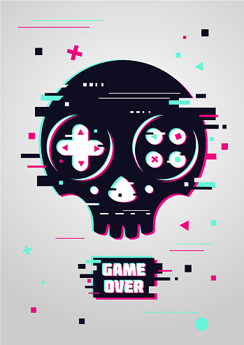 Game over glitchy sign with skull and gamepad.