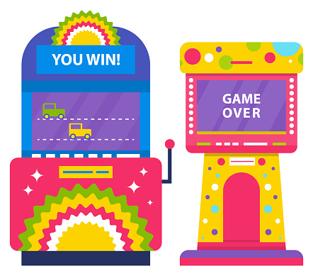 Game Over Machine with Screens, Car Racing Vector
