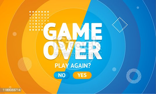 istock Game Over or Play Again Concept Banner Card. Vector 1183033714
