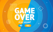 Game Over or Play Again Concept Banner Card. Vector illustration of Final Gaming Defeat Screen