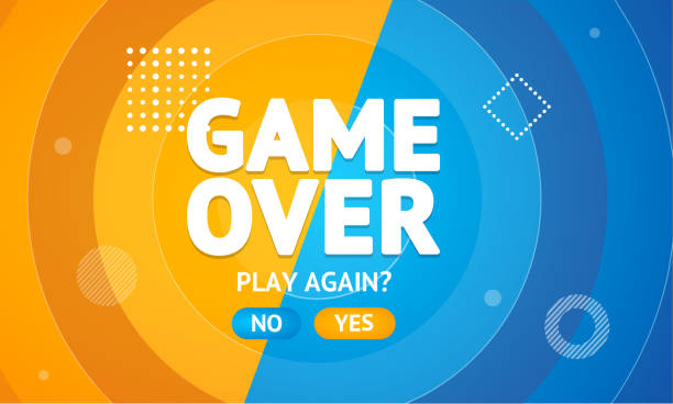Game Over or Play Again Concept Banner Card. Vector Game Over or Play Again Concept Banner Card. Vector illustration of Final Gaming Defeat Screen leisure games stock illustrations